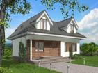 Одноэтажный дом с мансардой и террасой