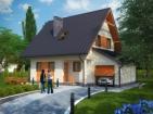 Проект небольшого дома с цоколем, гаражом и мансардой